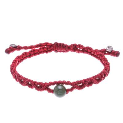 Hand Crafted Jade and Silver Macrame Bracelet