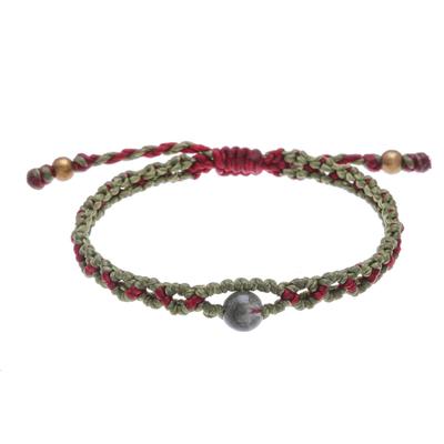 Hand Made Quartz and Brass Bead Macrame Bracelet