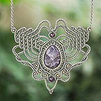 Amethyst macrame pendant necklace, 'Boho Lilac' - Hand Knotted Amethyst Macrame Pendant Necklace