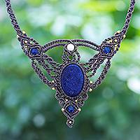 Lapis lazuli and quartz macrame pendant necklace, 'Boho Sea' - Hand Made Lapis Lazuli and Quartz Macrame Pendant Necklace