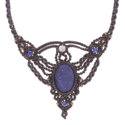 Lapis lazuli and quartz macrame pendant necklace, 'Boho Sea' - Hand Made Lapis Lazuli and Quartz Macrame Pendant Necklace