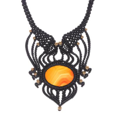 Agate macrame pendant necklace, 'Boho Sunrise' - Handmade Agate Macrame Pendant Necklace