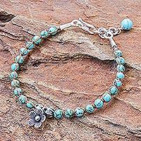 Silver beaded charm bracelet, 'Turquoise Flower' - Silver Beaded Floral Charm Bracelet from Thailand
