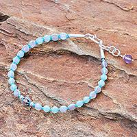 Amethyst and quartz beaded pendant bracelet, 'Pastel Universe' - Amethyst and Quartz Beaded Pendant Bracelet from Thailand