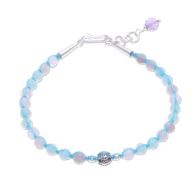 Amethyst and Quartz Beaded Pendant Bracelet from Thailand