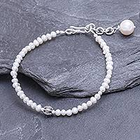 Cultured freshwater pearl beaded pendant bracelet, 'Bright Lights in White'
