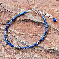 Lapis lazuli beaded pendant bracelet, 'Bright Lights in Blue' - Hand Made Lapis Lazuli Pendant Bracelet from Thailand