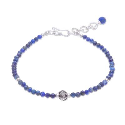 Lapis lazuli beaded pendant bracelet, 'Bright Lights in Blue' - Hand Made Lapis Lazuli Pendant Bracelet from Thailand