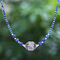 Lapis lazuli beaded pendant necklace, 'City Lights in Blue'