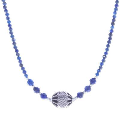 Lapis lazuli beaded pendant necklace, 'City Lights in Blue' - Handmade Lapis Lazuli Beaded Pendant Necklace from Thailand