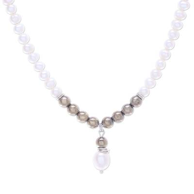 Cultured Freshwater Pearl and Hematite Pendant Necklace