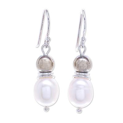 Cultured Freshwater Pearl and Hematite Dangle Earrings