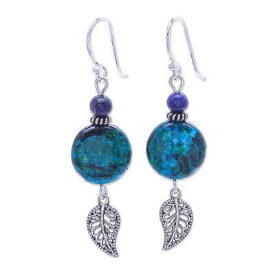 Hand Made Serpentine and Lapis Lazuli Dangle Earrings