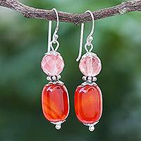 Carnelian and quartz dangle earrings, 'Tangerine Day' - Artisan Crafted Carnelian and Quartz Dangle Earrings