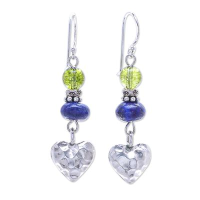 Quartz and Lapis Lazuli Heart-Themed Dangle Earrings
