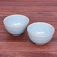 Celadon ceramic bowls, 'Antique Flora' (pair) - Hand Made Celadon Ceramic Floral Bowls (Pair)