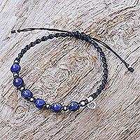 Lapis lazuli macrame cord bracelet, 'Lapis Love' - Hand Made Lapis Lazuli and Silver Macrame Cord Bracelet