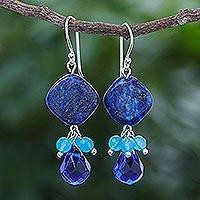Quartz and lapis lazuli dangle earrings, 'Blueberry Candy' - Handmade Quartz and Lapis Lazuli Dangle Earrings