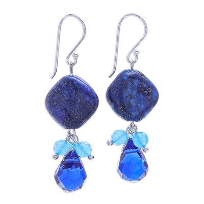 Handmade Quartz and Lapis Lazuli Dangle Earrings
