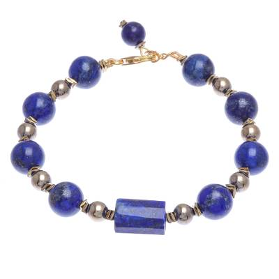Hand Threaded Lapis Lazuli and Hematite Pendant Bracelet