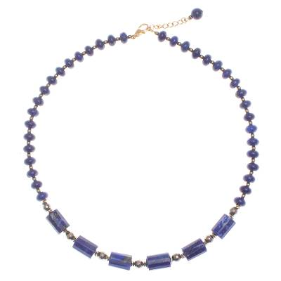 Gold-Plated Lapis Lazuli and Hematite Pendant Necklace