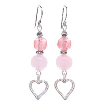 Hand Crafted Chalcedony and Silver Heart Dangle Earrings
