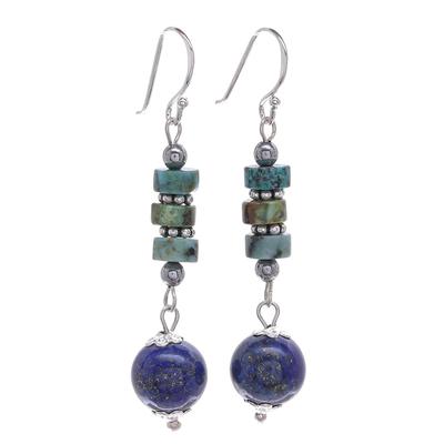 Handmade Lapis Lazuli and Hematite Dangle Earrings