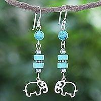 Serpentine and hematite dangle earrings, 'Elephant Dream' - Serpentine and Hematite Elephant Dangle Earrings