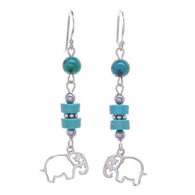 Serpentine and Hematite Elephant Dangle Earrings