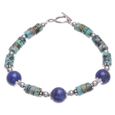 Hand Crafted Lapis Lazuli and Hematite Pendant Bracelet