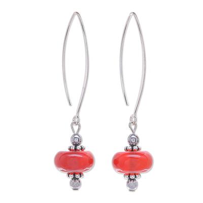 Hand Crafted Carnelian and Hematite Dangle Earrings