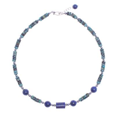 Handmade Lapis Lazuli and Hematite Pendant Necklace