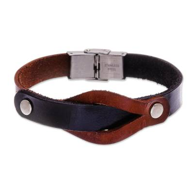 Leather wristband bracelet, 'Unwavering in Brown' - Handmade Leather and Stainless Steel Wristband Bracelet
