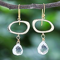 Gold-plated quartz dangle earrings, 'Gold Moon' - Hand Crafted Gold-Plated Quartz Dangle Earrings