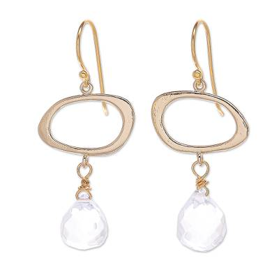 Hand Crafted Gold-Plated Quartz Dangle Earrings