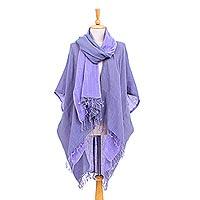 Cotton kimono and scarf set, 'Mild Violet' - Cotton Kimono and Scarf Set from Thailand