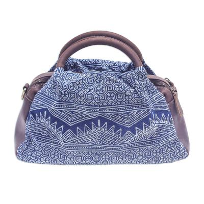 Block-Printed Leather and Cotton Batik Handbag