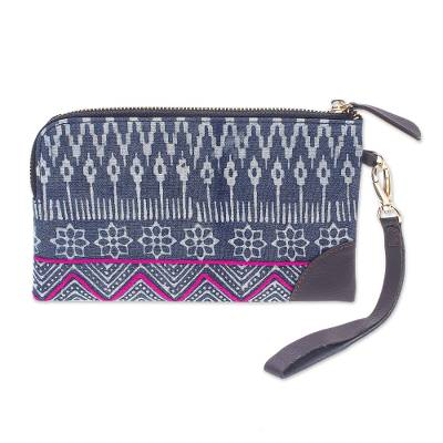 Hmong Geometric Block Print Cotton Wristlet Bag