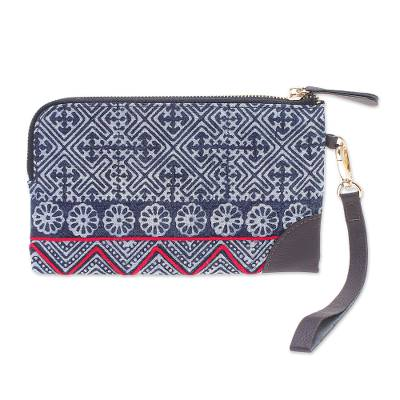 Hand Made Cotton and Leather Batik Wristlet Bag