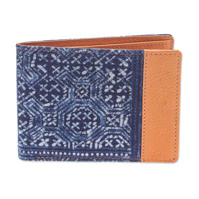 Handmade Cotton and Leather Batik Wallet from Thailand