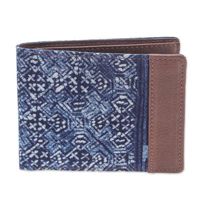 Hand Crafted Navy Cotton and Leather Batik Wallet