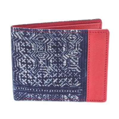 Artisan Crafted Leather and Cotton Batik Wallet