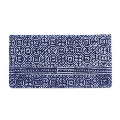 Artisan Crafted Navy Cotton Long Wallet from Thailand