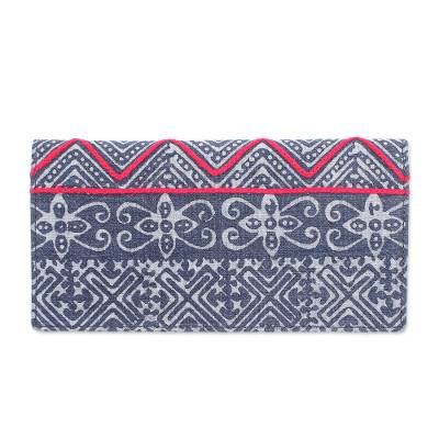 Hand Made Cotton and Leather Batik Long Wallet