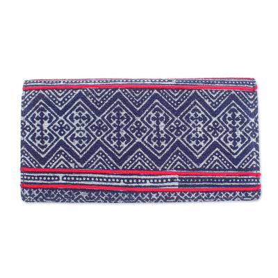 Hand Crafted Hmong Geometric Cotton and Leather Batik Wallet