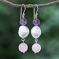 Multi-gemstone dangle earrings, 'Mellow Mood' - Amethyst and Cultured Freshwater Pearl Dangle Earrings