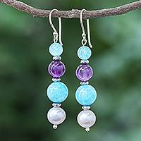 Multi-gemstone dangle earrings, 'Electric Jolt' - Cultured Freshwater Pearl and Quartz Dangle Earrings