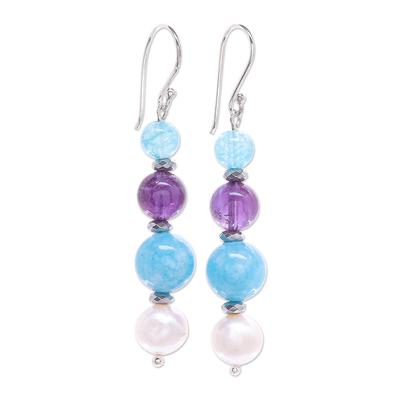 Cultured Freshwater Pearl and Quartz Dangle Earrings