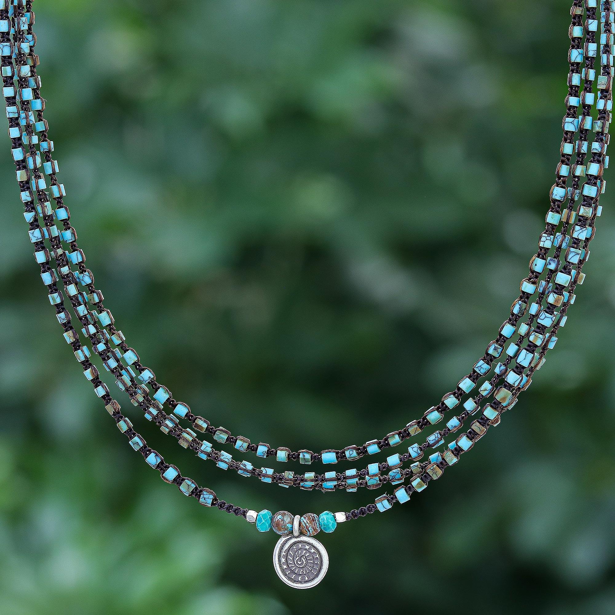 Blue Howlite Necklace Blue Silver Boho Pendant