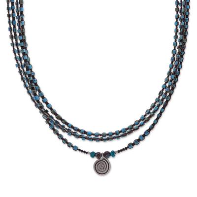 Howlite and jasper macrame pendant necklace, 'Boho Spiral' - Macrame Howlite and Jasper Pendant Necklace